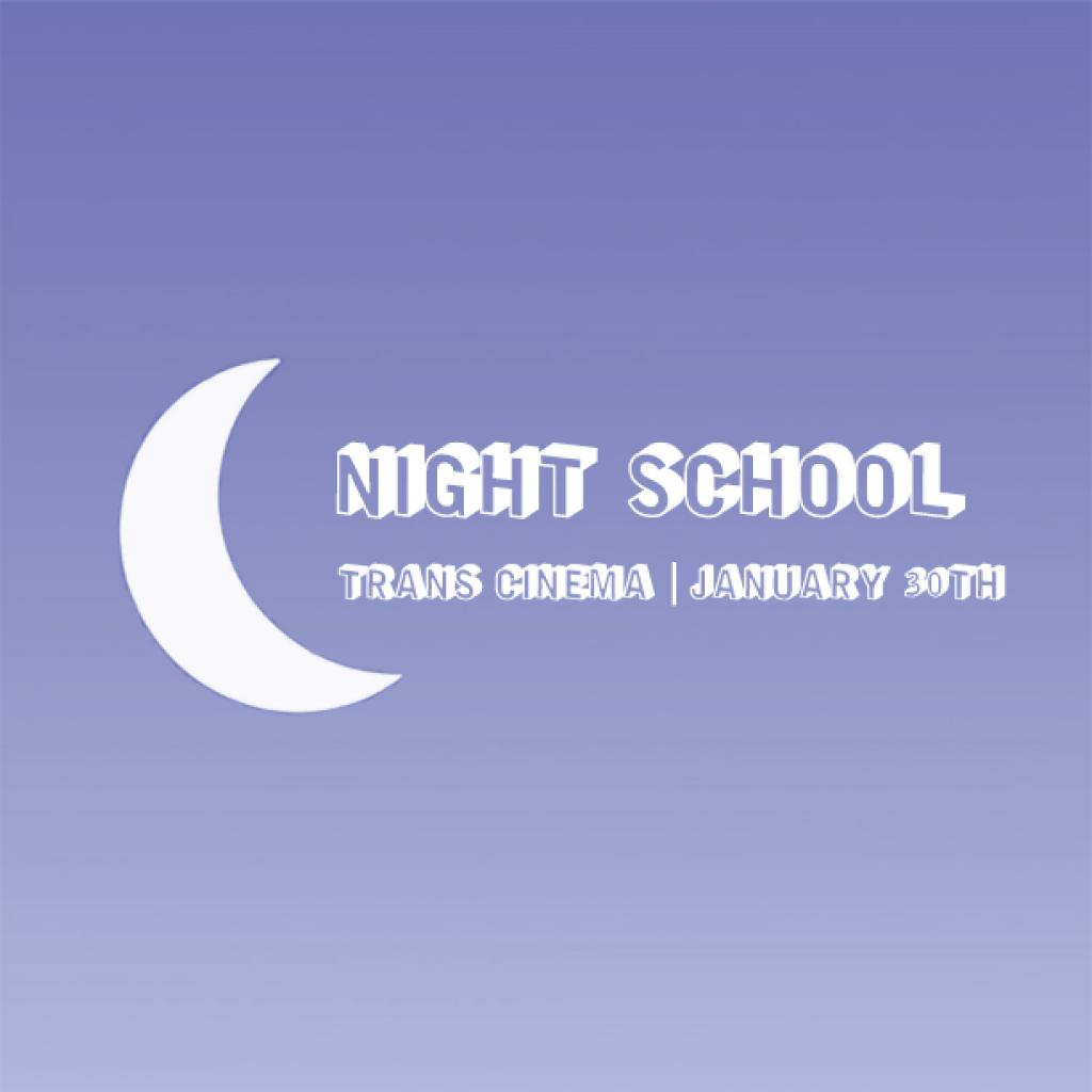 Night School - January to June 2020 - Image shown with dusk background, white text and white crescent moon.