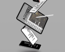 Tumbling ipads and iphones with SAW Video logo
